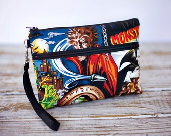 Clearance Horror Movie Monsters Wristlet with removable strap - punk rock