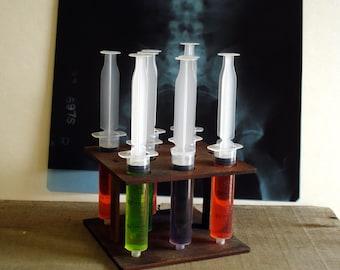 8 Shot Syringes and Wood holder Mad Scientist Lab Halloween Decorations Unique Drink Server Graduation gift Lab Prop