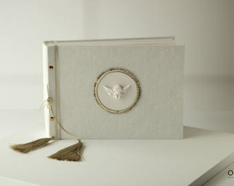 Baby Photo Album | Christening Photo Album | Linen Cover |  White Angel Detail | Cristening Gift From OreDesignSpace