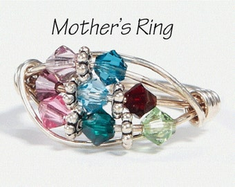 8 birthstone Grandmother's/Mother's Ring: Personalized Sterling Silver multistone Family.Eight stone Swarovski Crystals. Christmas, birthday