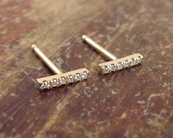 Diamond Bar Earrings, Diamond Earrings, Diamond Bar Earring, Diamond Bar Stud Earrings, April Birthstone, Diamond Bar Studs, 14K Gold Stud