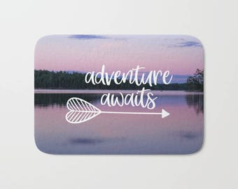Adventure Awaits Decor For Bathroom, Bath Mat Pink, Travel Decor, Memory Foam Bath Mat With Words, Arrow Bathroom Decor, Boundary Waters Art