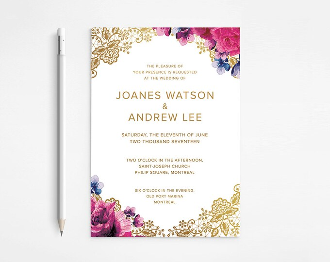 PRINTABLE - Chic Gold Floral Wedding Invitation - Lace - Raspberry -  Purple -  Pink - Flowers - Classical - Roses - Free changes - DISCOUNT