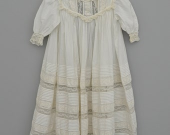 Antique Edwardian 19th Century Hand Embroidered Tulle Tambour Lace Pintuck Christening Gown