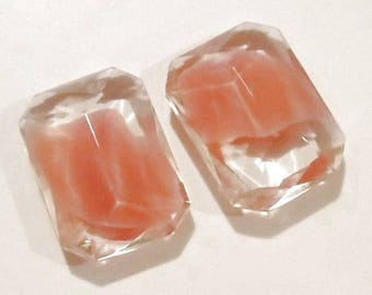 Rare Givre 25x18mm Octagon 2-Tone Pink Opal & Crystal (2) Faceted Glass Jewels