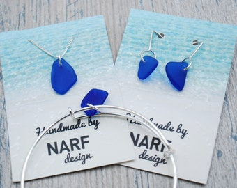 Cobalt Blue Maine Sea Glass Jewelry Set