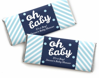 24 Hello Little One - Blue and Silver - Custom Candy Bar Wrappers - Personalized Boy Baby Shower Party Favors