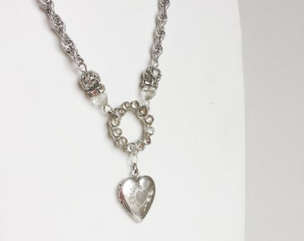 Silver Heart Locket Necklace, Etched Sterling Victorian Locket Pendant, Vintage Rhinestones, Silver Chain, Handmade with Vintage Materials