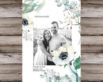 Floral Watercolor Save the Date Card, Watercolor Save the Date, Save Our Date, Floral Save the Date, Save the Date Watercolor, Custom