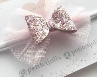 Handmade// Pink tulle glitter headband