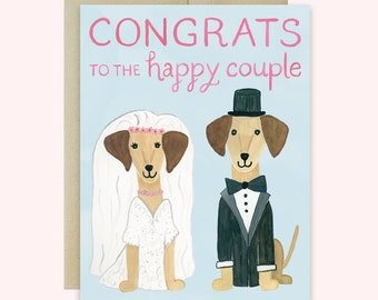 Dog Wedding Card, Congratulations Wedding Card, Dachshund Wedding Card, Dachshund Greeting Card, Congrats to the Happy Couple Card, Dog Card