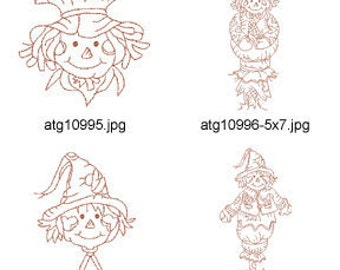Redwork-Autumn-Scarecrows ( 20 Machine Embroidery Designs from ATW ) XYZ17C