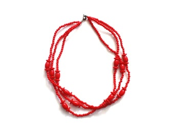 Vintage Red Beaded Three Strand Necklace