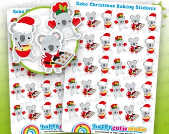 30 Cute Koko the Koala Christmas Baking Planner Stickers, Filofax, Erin Condren, Happy Planner, Kawaii, Cute Sticker, UK