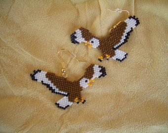 Flying Eagle Earrings. Authentic Native American Hand Made. Ndn. First Nation. Delica Beads. Brick Stitch. Southwest Design. Light Weight,