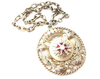 Vintage Silver Tone Large Circular Regal / Royal Two Birds, Crown of Francoi, Red Enamel & White Resin Unmarked Medallion Pendant Necklace