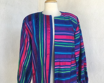 Vintage Mexican Tachi Castillo blue cotton pin tuck ribbon Jacket pad shoulder puff sleeve sz M