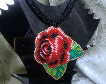 Necklaces Handmade Beaded Embroidered Roses