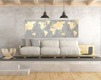 World map canvas print panoramic world map horizontal large world map canvas print vintage gray ivory cream neutral world map panoramic extra large long wall gumiabroncs Choice Image