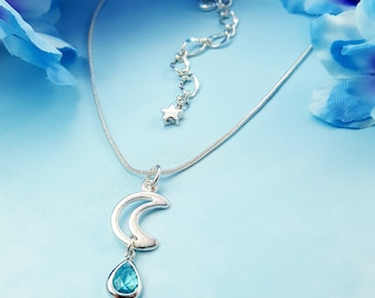 Aquamarine Moon Necklace - Crescent Moon Necklace Crystal - Zodiac Jewelry Lunar - Blue Moon Necklace - Silver Moon and Star Necklace N5731