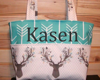 Diaper bag, handbag, purse, book..Stag Forest N Teal Arrows..with Name. Bow on request..Match your carseat canopy(see fashionfairytales).
