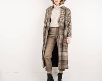AMAZING Vintage Brown and Creme Plaid Tweed Wool Coat / S / hipster jacket coat womens outerwear overcoat oversized coat