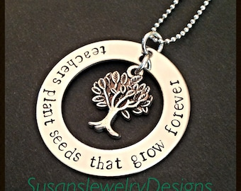Teachers Plant Seeds Necklace - Teacher Necklace - stainless steel 1 sided washer - choice of chain and tree of life charm