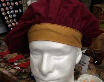Renaissance Muffin Cap - Burgundy/Bronze