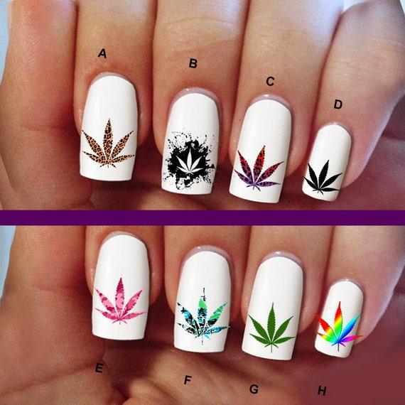 60 LEAVES, Marijuana, flowers, nail art, nail decals, Nail Art ...