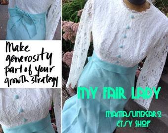 Vintage 70s Lace & Aqua full length dress size 11 My Fair Lady Eliza Doolittle free domestic shipping