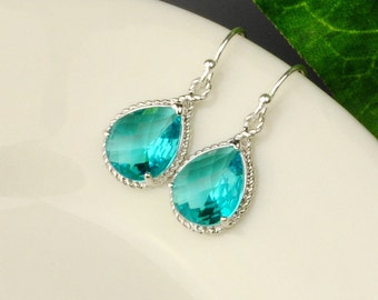 Sea Green Earrings - Teal Blue Green Crystal Bridesmaid Earrings - Bridesmaid Gift - Blue Silver Drop Earrings - Wedding Jewelry