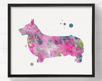 Watercolor Corgi, Corgi Painting, Corgi Art Print, Dog Wall Art, Dog Lover Gift, Dog Art Print, Corgi Poster, Pink Corgi, Dog Poster, Framed