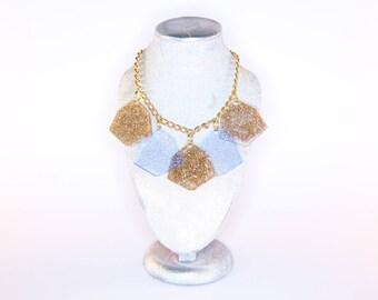 IRREGULAR HEXAGON; 5 Drop Glitter and Fluorescent Perspex Necklace