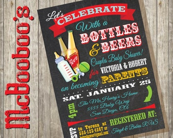 Bottles and Beer Couples baby shower invitations on a chalkboard background