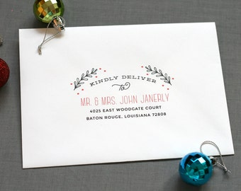 envelope printing recipient address return address holiday cards digital calligraphy christmas