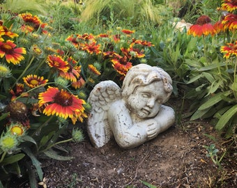 Vintage Terracotta Pottery Angel Rustic Garden Angel French Country Decor, Architectural Garden