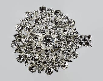 crystal hair clip, bride, prom, wedding veil, filigree flower, Diamante, art deco, downton abbey, bride crystal clip, swarovski crystal