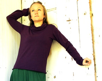 Simple Long Sleeve Cowl Shirt - Organic Fabric - Made to Order - Choose Your Color