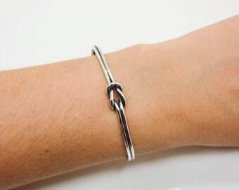Sterling Silver Sailors Knot Cuff Bracelet -  Love Knot Bracelet - Silver Love Knot Cuff - Silver Double Knot Bracelet - Love Knot Cuff