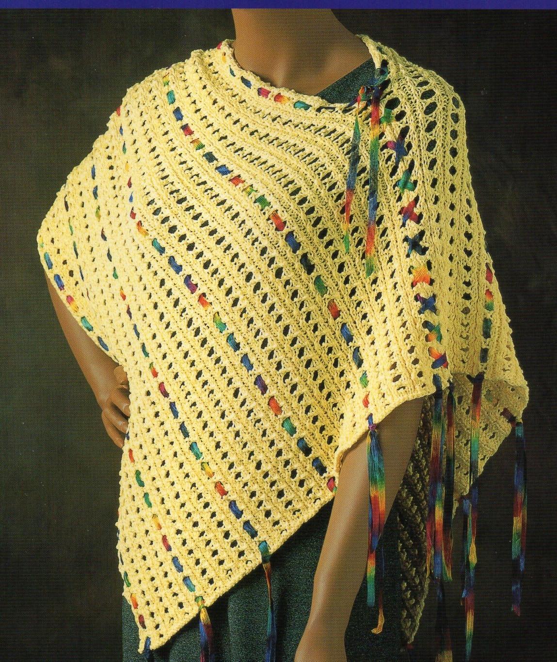 Cape Poncho Knitting Pattern Woven Ribbon Poncho Cape Knitting ...