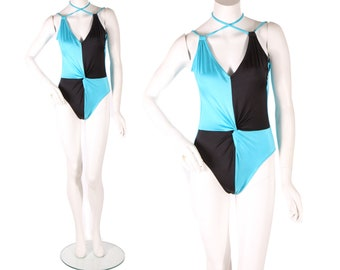 1970s Bright Blue and Black Color Block Criss Cross One Piece Swimsuit by Sirena -S-M