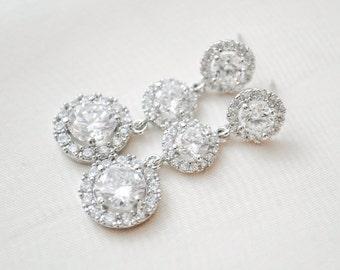 Statement Bridal Earrings, Round CZ Earrings, Wedding Earrings