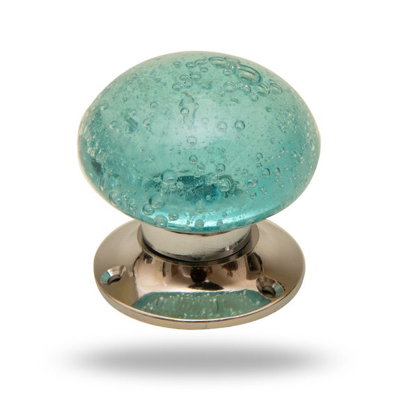 Turquoise Blue Bubble Glass Mortice Door Knob for Bedrooms ...