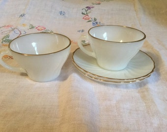 Anchor Hocking Fire King Swirl-Golden Shell Milk Glass Cups and Saucers