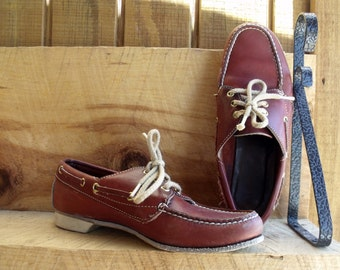 Vintage Woman's DEXTER brand Leather Bowling Shoes in an Oxblood Rust Color.  Loafer Style.  Size 6 M or 6 1/2 M. Made in the USA.