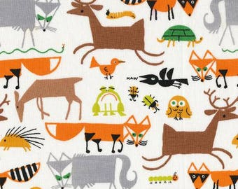 "SALE Organic Woodland Cotton Fabric-Cloud9 Fabric ""Happy Drawing""-Woodland fabric-Fox,Deer, Animal Print-Nusery,Baby Bedding,boy"