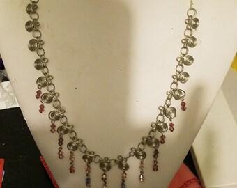 Hand made Spiral Neclace with Swarovski Crystals