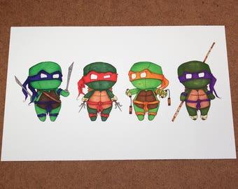 Teenage Mutant Ninja Turtles - 8x5 Print [ TMNT  / Fan Art / Chibi ]