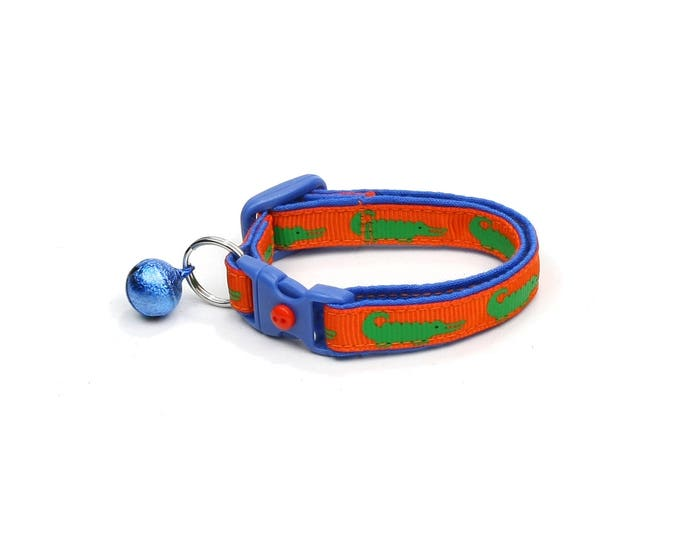 Alligator Cat Collar - Alligators on Orange over Blue- Small Cat / Kitten Size or Large Size