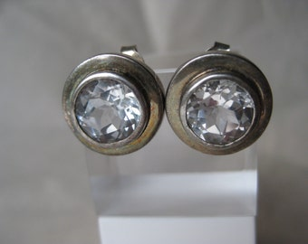 Large Round Clear CZ Sterling Earrings Post Pierced Silver 925 Stud